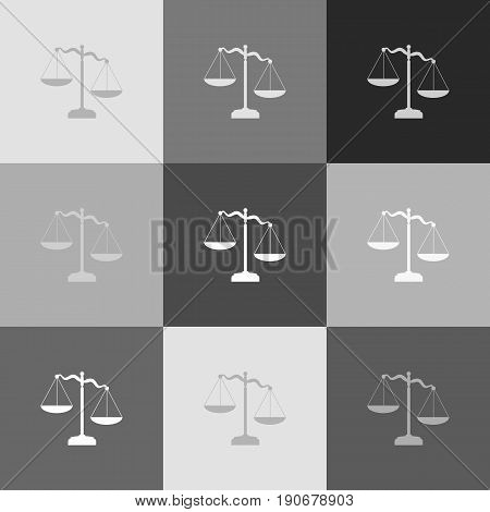 Scales of Justice sign. Vector. Grayscale version of Popart-style icon.