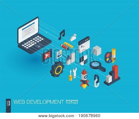 Web development integrated 3d icons. Digital network isometric progress concept. Connected graphic design line growth system. Abstract background for seo, website, app design. Vector Infograph