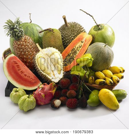 selection of tropical fruits