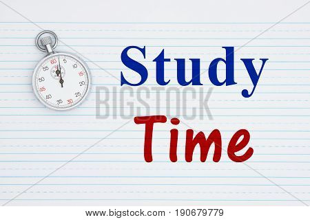 Study Time text on retro lined paper and a stopwatch