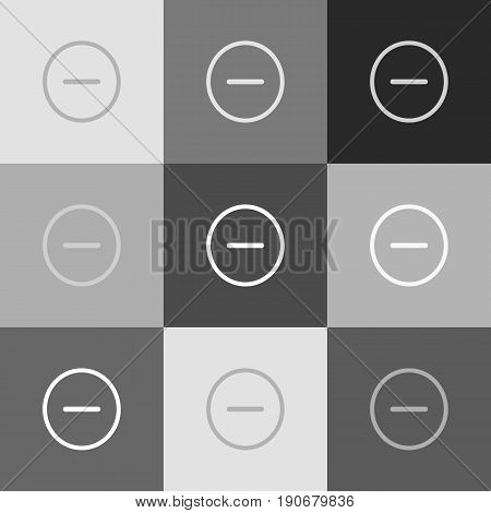 Negative symbol illustration. Minus sign. Vector. Grayscale version of Popart-style icon.