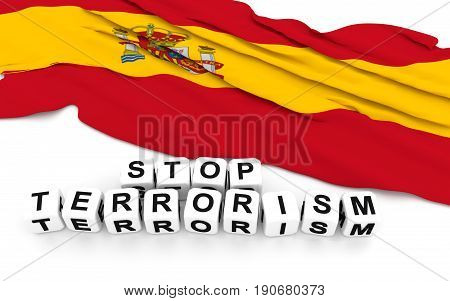 Spanish Flag And Text Stop Terrorism.