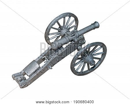 model of Old cannon on white background