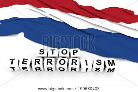 Dutch Flag And Text Stop Terrorism.