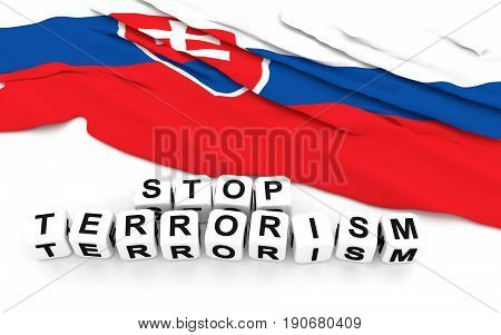 Slovakian Flag And Text Stop Terrorism.
