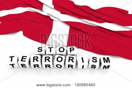 Danish Flag And Text Stop Terrorism.