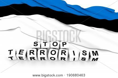 Estonian Flag And Text Stop Terrorism.