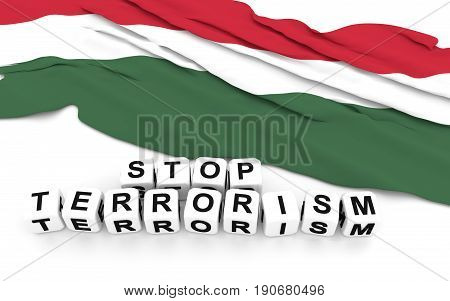 Hungarian Flag And Text Stop Terrorism.