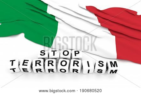 Italian Flag And Text Stop Terrorism.
