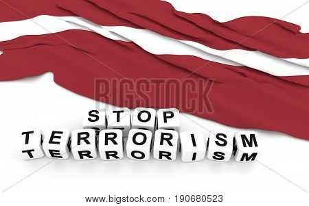Latvian Flag And Text Stop Terrorism.
