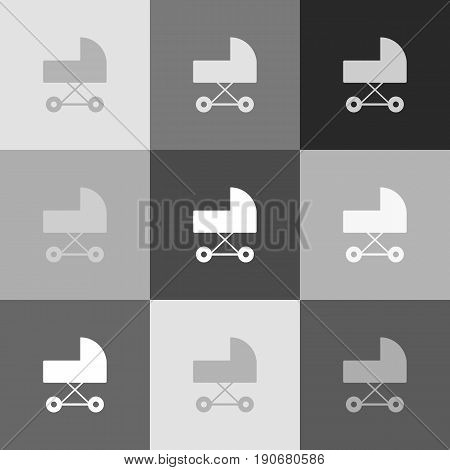 Pram sign illustration. Vector. Grayscale version of Popart-style icon.