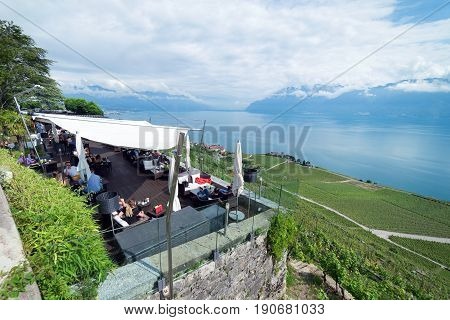 Lavaux, Switzerland. 5th June 2017. Le Baron Tavernier is a luxury hotel and restaurant at the top of UNESCO protected vinyards on the northern banks of Lake Leman (Lake Geneva) in Switzerland.