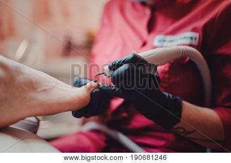 Process Of Pedicure At Beauty Salon Spa