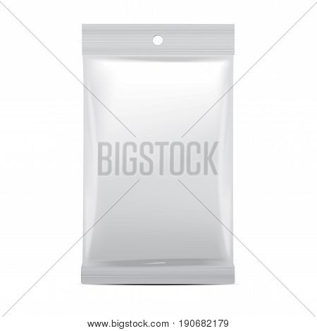 White blank foil bag packaging for food, snack, coffee, cocoa, sweets, crackers, chips, nuts. Vector plastic pack mock up for your design