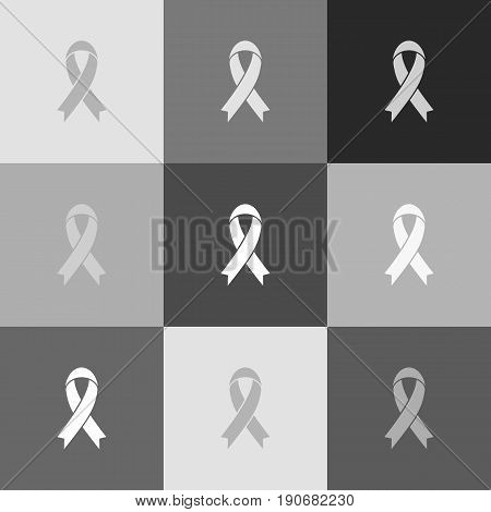 Black awareness ribbon sign. Vector. Grayscale version of Popart-style icon.