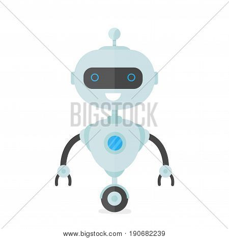 Happy smiling robot chat bot. Vector modern flat style character cartoon illustration design. Isolated on white background