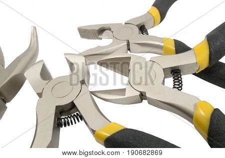 Assorted hand tools isolated on white background