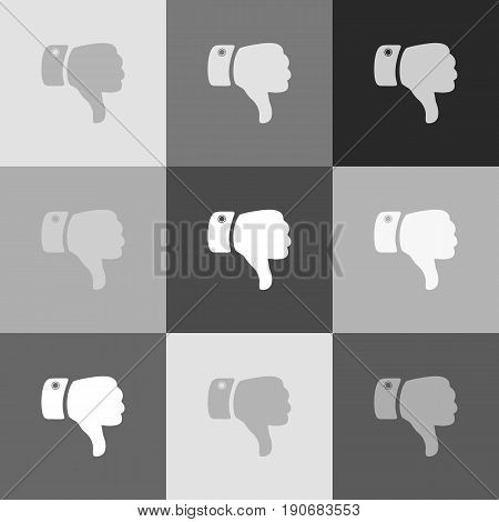 Hand sign illustration. Vector. Grayscale version of Popart-style icon.