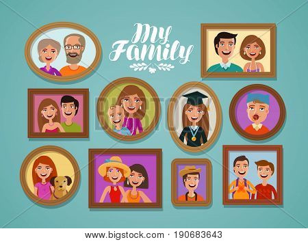Family photos in frames. People, parents and children concept. Vector illustration