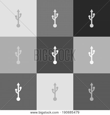USB sign illustration. Vector. Grayscale version of Popart-style icon.