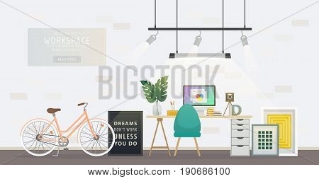 Design of modern home office designer workplace. Creative office workspace with bicycle, desktop, artist equipment in room interior. Vector illustration in flat minimalistic design, website banner