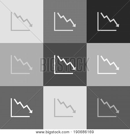 Arrow pointing downwards showing crisis. Vector. Grayscale version of Popart-style icon.