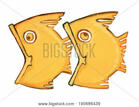 Astrological sign of the zodiac Pisces as gingerbread isolated on a white background. Two fish swimming one after another one fish trying to swallow another