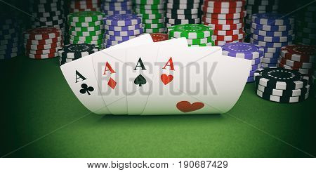 Poker Chips And Four Aces On Green Felt 3D Illustration
