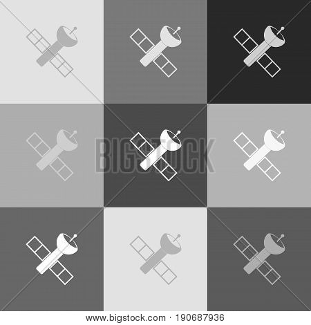 Satellite sign illustration. Vector. Grayscale version of Popart-style icon.