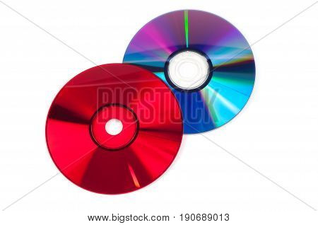Red and violet CD compact discs isolated on white background