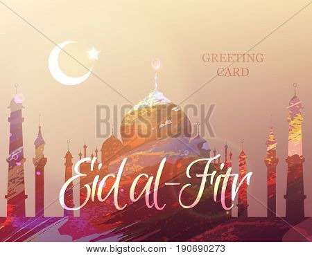 Eid Mubarak. Eid al-Fitr muslim traditional holiday. Muslim Community Festival celebration. Abstract watercolor background with silhouette of a mosque. Editable vector illustration for greeting card