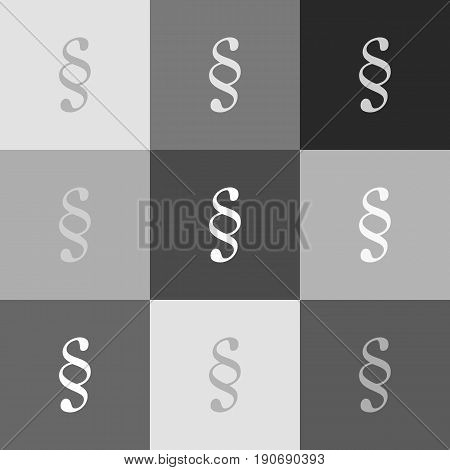 Paragraph sign illustration. Vector. Grayscale version of Popart-style icon.