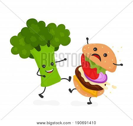Happy smile strong broccoli kick burger hamburger. Vector modern flat style cartoon character illustration icon design.Isolated on white background. Healthy food against unhealthy fast food.Nutrition