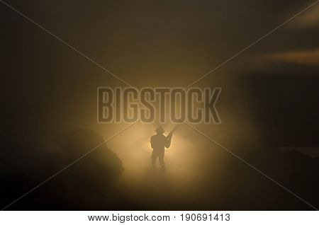 War Concept. Military Silhouettes Fighting Scene On War Fog Sky Background, World War Soldiers Silho