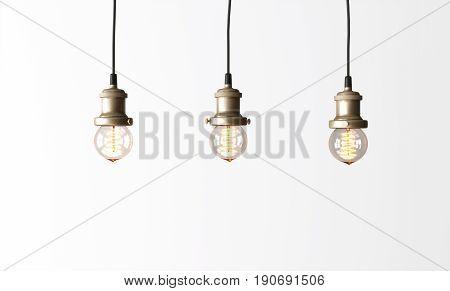 Loft pendant lamps with edison light bulbs. 3d rendering.