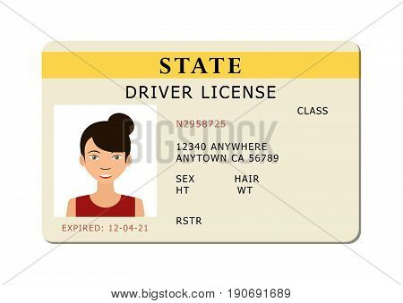 Driving id license with person photo identification card. Vector illustration.