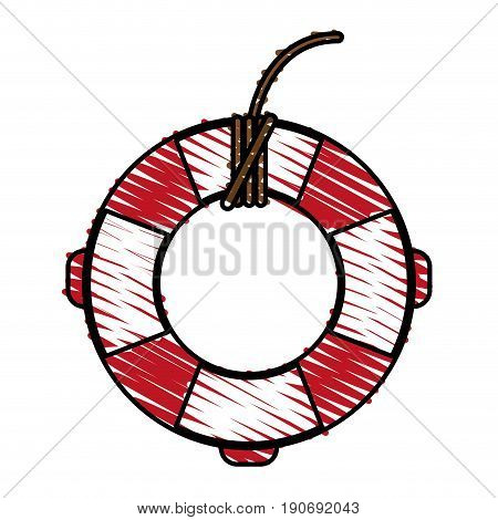 Red and white lifesaver doodle over white background vector illustration