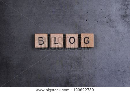 Blog word image with square wooden letters