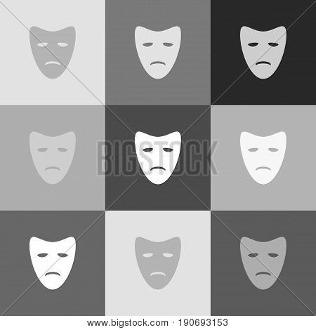 Tragedy theatrical masks. Vector. Grayscale version of Popart-style icon.