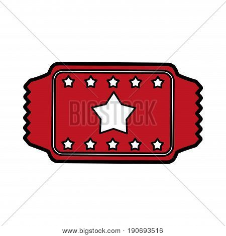 movie ticket icon image with stars vector illustration design