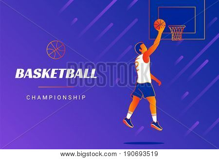Basketball championship promo banners cover. Modern line vector illustration of basketball player jumping with the ball to the basket. Gradient design for  poster or sport banner