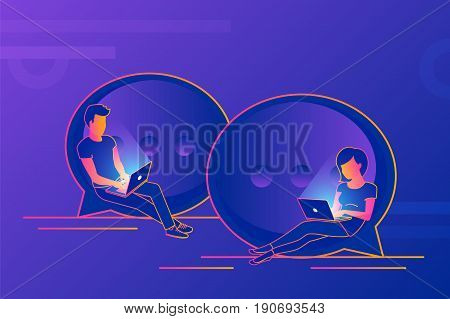 Chat talk concept illustration of young people using laptops for sending messages and connecting via messenger app. Modern gradient design of guy and girl sitting on speech bubbles and typing messages