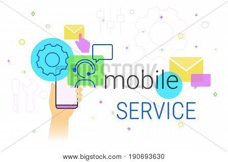 Mobile service and technical support on smartphone concept illustration. Human hand holds smart phone with app for settings maintenance and online feedback support. Creative promo banner