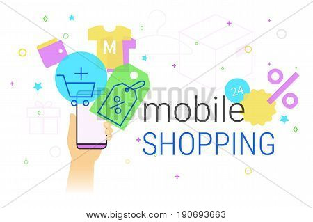 Mobile shopping on smartphone concept illustration. Human hand holds smart phone with app for fast ordering and buying goods and services with promo price and discounts. Creative e-commerce banner
