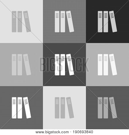 Row of binders, office folders icon. Vector. Grayscale version of Popart-style icon.