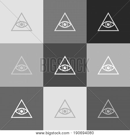 All seeing eye pyramid symbol. Freemason and spiritual. Vector. Grayscale version of Popart-style icon.