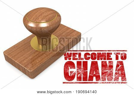 Red Rubber Stamp With Welcome To Ghana