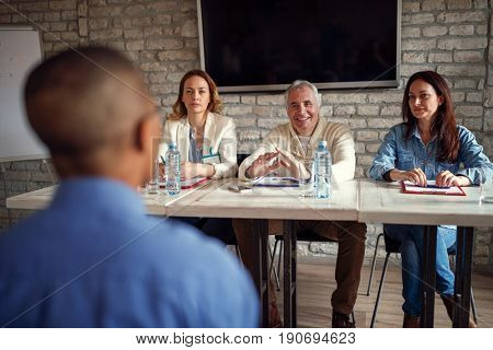 business people team talking about candidate at job interview in the office