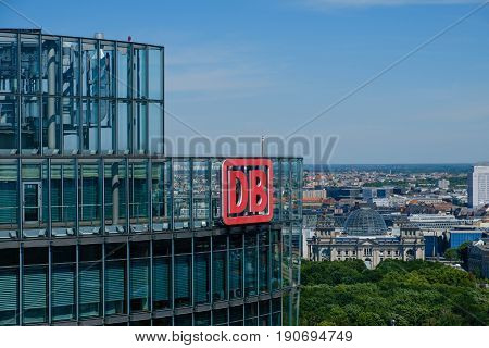 The Logo Of The Deutsche Bahn Ag ( German Railroad Company) On Top Of The Headquarter Office Buildin