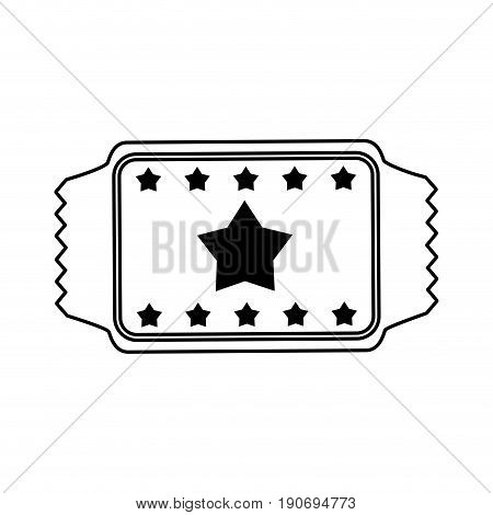 movie ticket icon image with stars vector illustration design  black line